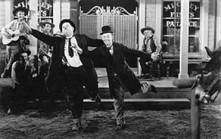 Laurel and Hardy dance in Way Out West