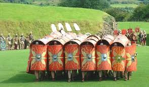 Demonstration of Roman army shield formations