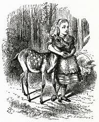 Tenniel's illustration of Alice and the faun from Alice Through the Looking Glass