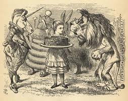 Tenniel's illustration of the Lion and the Unicorn from Through the Looking Glass