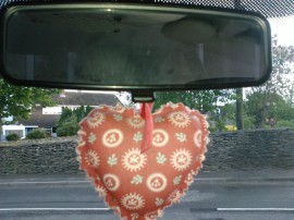 heart-shaped air freshener in my car