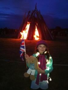 Laura at the beacon bonfire