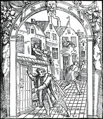 Illustration of chamber pot being emptied into medieval street