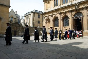 Procession of Oxford dons in formal academic dress