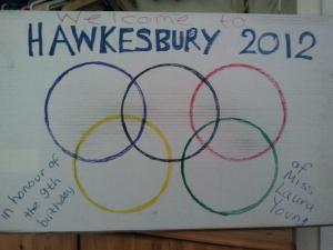 Sign we made for Laura's Olympic-themed 9th birthday party