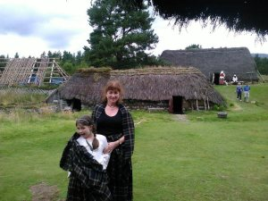 Wearing the ancient plaid at the HIghland Folk Museum, Newtonmore