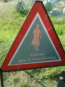 "Road sign seen in Applecross, Scotland, cautioning ""Men In Kilts Walking"""