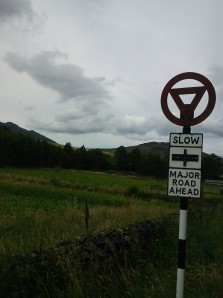 Old-fashioned road sign from Highland Folk Museum, Newtonmore