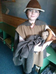 Laura in Bronze Age costume at the Scottish Crannog Centre