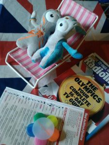 London 2012 Olympic mascots Wenlock and Mandeville on our coffee table