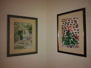 Pair of watercolour paintings by Grandpa and Laura