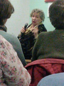 M C Beaton addressing audience in library