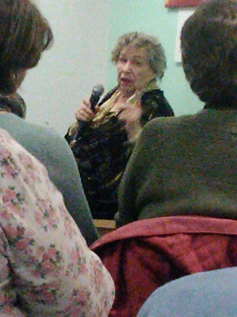 Profilic author M C Beaton giving a library talk