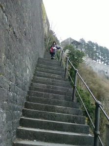 Laura on the Dinant Citadel steps