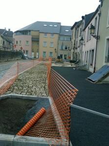 Roadworks in Mons, Belgium