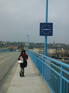 Luxembourg border on bridge over Moselle