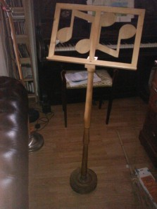 Music stand made by Grandpa for Laura