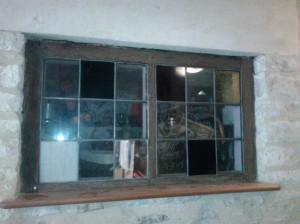 Stained glass larder window