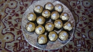 Platter of Ferrero Rocher chocolates