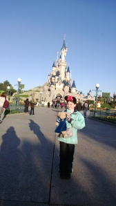 Laura in front of Sleeping Beauty's Castle
