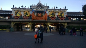 My daughter and sister at Disneyland Paris Main Street Station