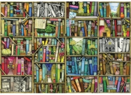 Image of jigsaw puzzle with a bookshelf design