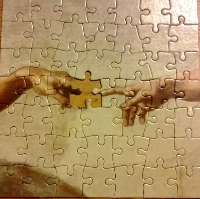Jigsaw puzzle with last piece missing