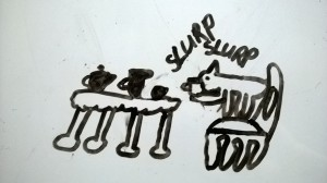 My daughter's drawing of a wombat drinking tea at a tea table