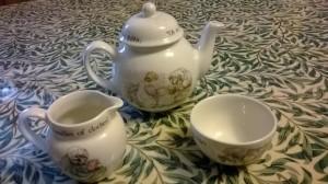 Toy tea set in Beatrix Potter's Mrs Tiggywinkle design