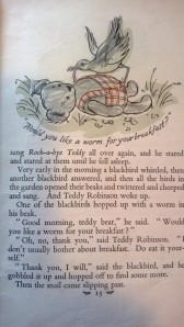 Page from Teddy Robinson book that has been coloured in by a young Debbie