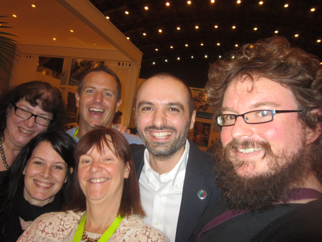 Selfie of Debbie Young, Jessica Bell, Orna Ross, Hugh Howey, Diego Marano and Dan Holloway, all looking very happy