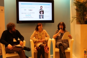 Photo of Dan Holloway, Orna Ross and Debbie Young on the Kobo stand at the London Book Fair