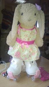 Photo of toy rabbit on roller skates