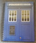 Spiral bound notebook with Tardis image on cover