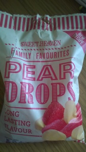 Bag of pear drop sweets