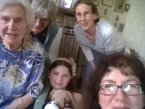 Selfie of Grandma's cousin Nina, my aunt, my sister, my daughter and me
