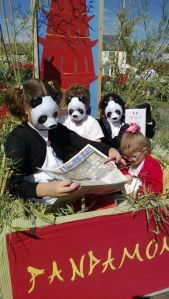 Close up of children in Pandamonium float