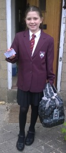 Photo of Laura in her new school uniform