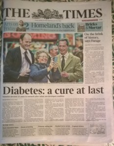 Front page of todays Times
