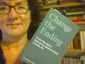 Headshot of Debbie Young with Change the Ending paperback