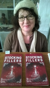 Debbie on a stall with her books