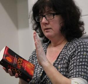 Debbie apparently saluting Hugh Howey's novel Wool