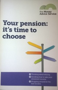 "Cover of pension advice leaflet headed ""It's time to choose"""