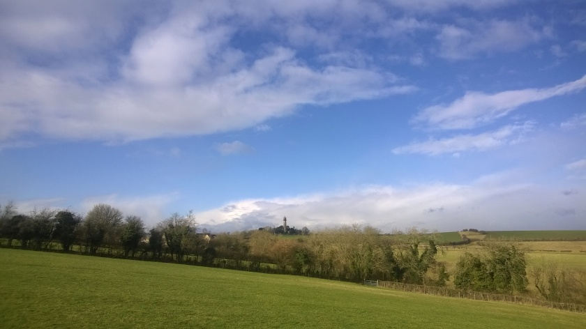 Cotswold landscape photo across green fields to SomersetM Monument