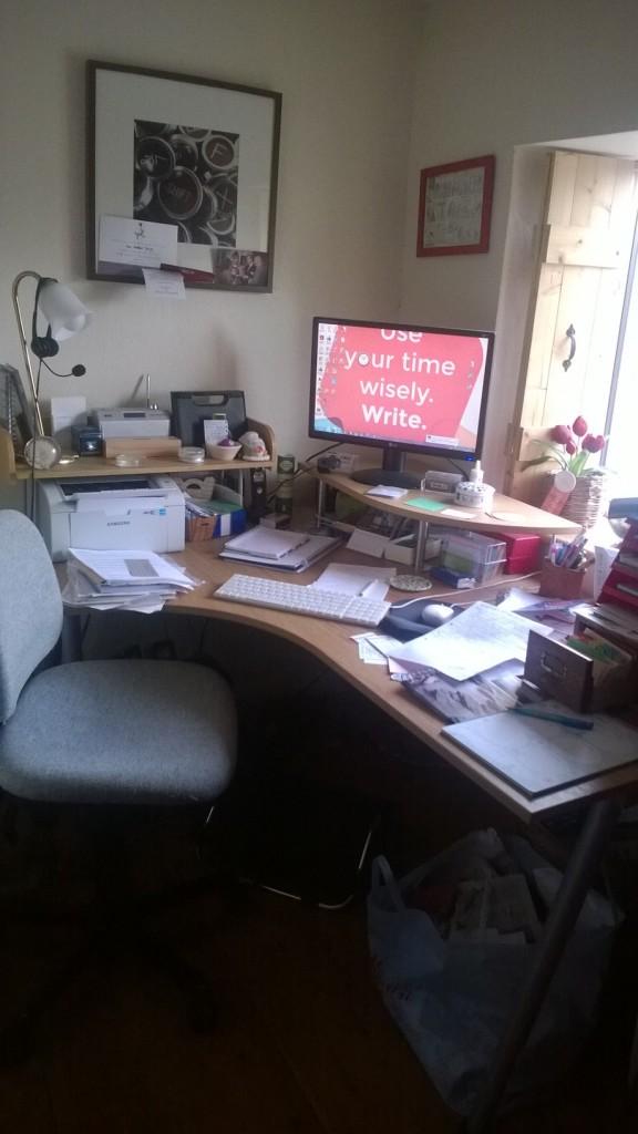 Modern desk with computer