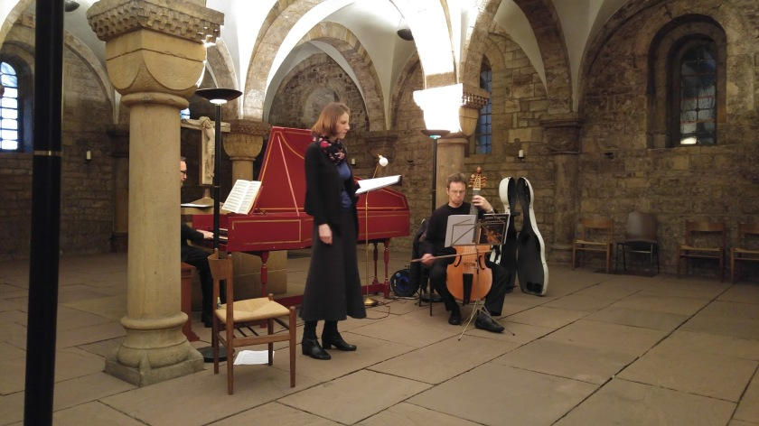 Trio of musicians rehearsing