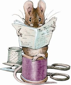 Image of mouse sitting on a cotton reel reading paper, from the Tailor of Gloucester