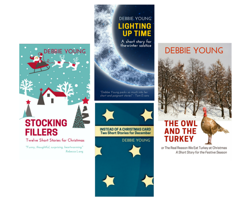 Array of Christmas books by Debbie Young