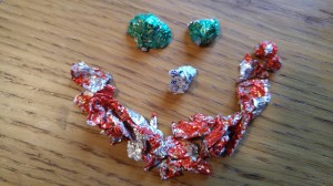 Smiley face made of empty Lindor wrappers