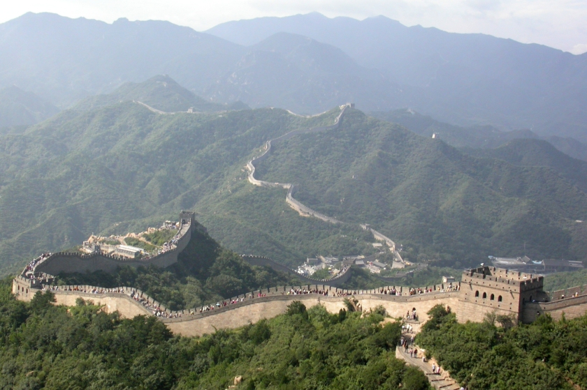 aerial shot of the Great Wall of China